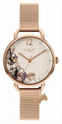 Radley | bracelet maille en or rose pour femme | cadran imprimé floral RY4526