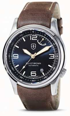 Elliot Brown | Tyneham | cadran bleu | bracelet en cuir marron 305-D07-L22
