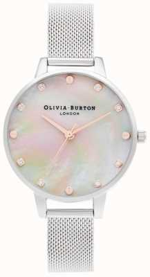 Olivia Burton   cadran demi-vadrouille avec détail de vis   bracelet en maille d'argent   OB16SE07
