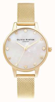 Olivia Burton | cadran de vadrouille midi avec détail de vis | bracelet en maille or pâle | OB16SE08