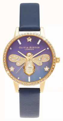Olivia Burton Cadran midi nacre cadran en cuir bleu abeille scintillant OB16GB06