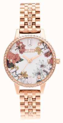 Olivia Burton | midi floral | bracelet en or rose scintillant | OB16BF34