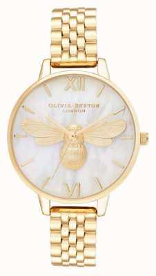 Olivia Burton Bracelet en or à demi cadran en nacre Lucky bee OB16FB18