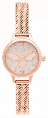Olivia Burton Bracelet en maille or rose à mini cadran Lucky Bee OB16FB15