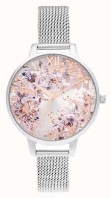 Olivia Burton Demi argent et or rose maille abstraite floral OB16VM46