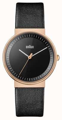 Braun Femmes | classique | bracelet en cuir noir | cadran noir | Rose BN0031RGBKL