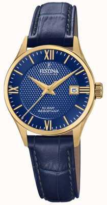 Festina Fabrication suisse pour femmes | bracelet en cuir bleu | cadran bleu F20011/3