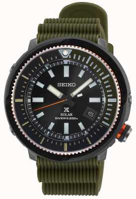 Seiko Prospex gents solaire   bracelet en silicone kaki   cadran noir SNE547P1