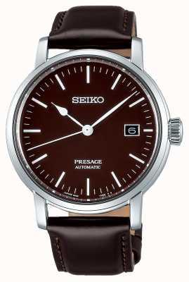 Seiko | presage gents mécanique | cuir marron | bracelet marron SPB115J1