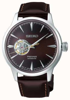 Seiko | présage dames mécanique | cuir de veau marron | cadran marron SSA783J1