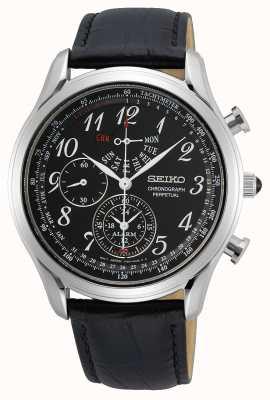 Seiko Quartz homme conceptuel | bracelet en cuir noir | cadran noir SPC255P1