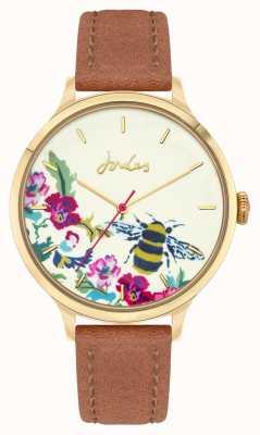 Joules Femmes | bracelet en cuir marron | cadran floral abeille JSL030TG
