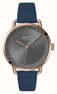HUGO #mellow | bracelet en cuir bleu | cadran gris | 1540054