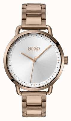 HUGO #mellow | bracelet en acier plaqué or beige | cadran argenté | 1540056