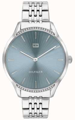 Tommy Hilfiger Gris | bracelet en acier inoxydable | cadran bleu | 1782210