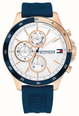 Tommy Hilfiger Banque | bracelet en silicone bleu | cadran blanc 1791778