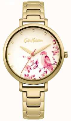 Cath Kidston Bracelet en acier inoxydable doré | cadran oiseau floral CKL099GM