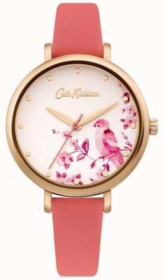 Cath Kidston Bracelet femme en cuir rose | cadran oiseau floral argent CKL099PRG
