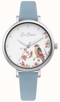 Cath Kidston Bracelet en cuir bleu pâle | cadran oiseau floral argent CKL099US