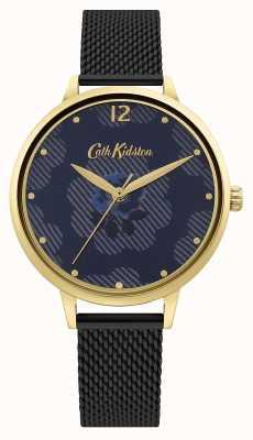 Cath Kidston Bracelet en maille noire | cadran floral bleu CKL095GBM
