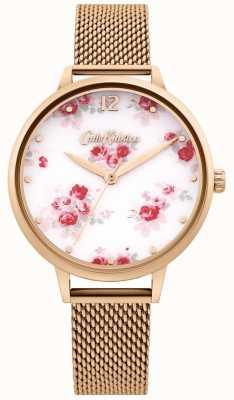 Cath Kidston | bracelet en maille or rose pour femme | cadran fleuri blanc CKL095RGM