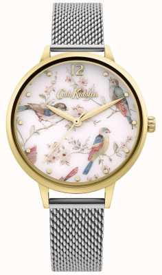 Cath Kidston | cadran imprimé floral d'oiseaux pour femmes | bracelet en maille d'argent CKL095GSM