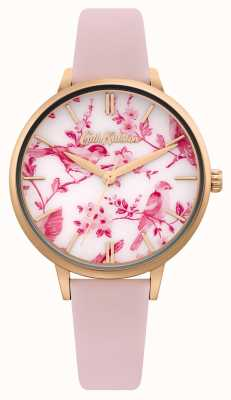 Cath Kidston Cadran imprimé fleuri / oiseau | bracelet en cuir rose | CKL106PRG