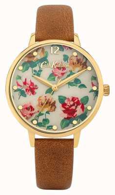 Cath Kidston | bracelet en cuir beige pour femme | cadran floral multicolore | CKL083TG