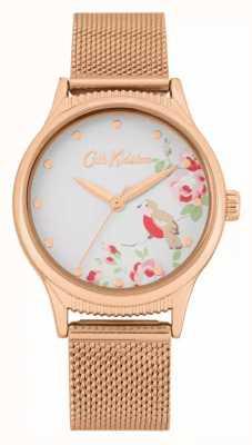 Cath Kidston Bracelet en maille or rose | cadran imprimé floral blanc | CKL091RGM