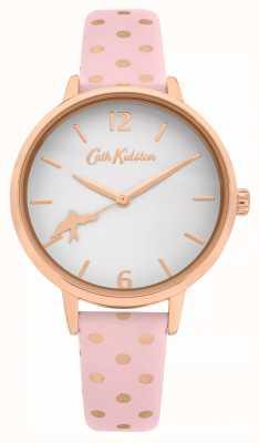Cath Kidston Bracelet en cuir à pois rose | cadran blanc | CKL088P