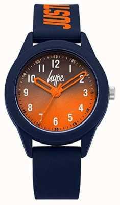 Hype | bracelet en silicone bleu marine | cadran orange | HYK003U