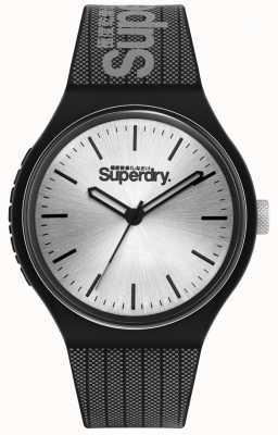 Superdry Cadran soleil argenté   bracelet en silicone imprimé noir et gris   SYG293B