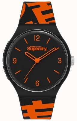 Superdry Bracelet en silicone noir / orange   cadran noir mat   SYG294BO