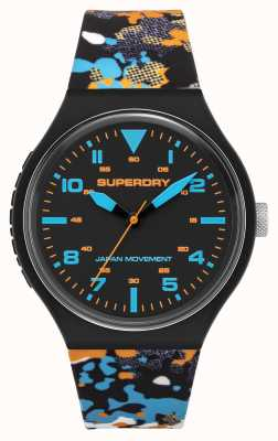 Superdry Cadran noir mat | sangle camouflage multicolore | SYG295BU