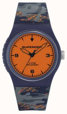 Superdry Cadran orange | bracelet en silicone bleu marine / orange | SYG296UO