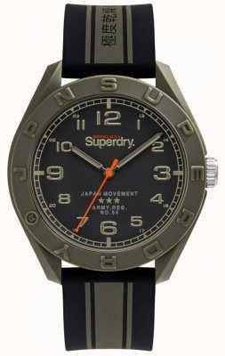 Superdry | osaka | bracelet en caoutchouc noir / kaki | cadran noir | SYG305NB