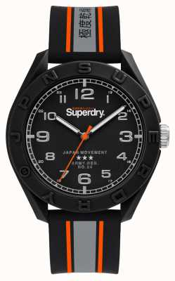 Superdry Cadran noir mat | bracelet noir / gris / orange | SYG305EB