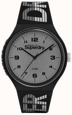 Superdry | course urbaine xl | bracelet en silicone noir | cadran gris | SYG269BE