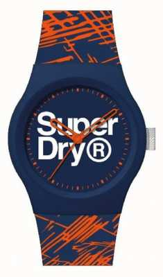 Superdry Bracelet en silicone bleu marine / orange   cadran bleu marine / orange / blanc   SYG292OU