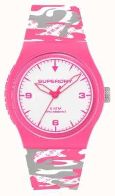Superdry | urbain | camouflage fluoro pour femmes | bracelet en silicone | cadran blanc SYL296EP