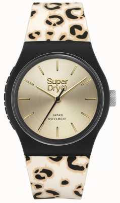 Superdry | urbain | bracelet en silicone imprimé léopard pour femme | cadran en or | SYL299GB