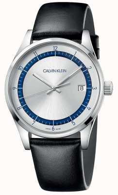 Calvin Klein | achèvement | bracelet en cuir noir | cadran argent / bleu | KAM211C6