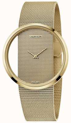 Calvin Klein | glam | bracelet en maille d'acier plaqué or pvd | cadran en or | K9423Y29