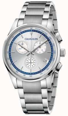 Calvin Klein | achèvement | bracelet en acier inoxydable | cadran argent / bleu | KAM27146