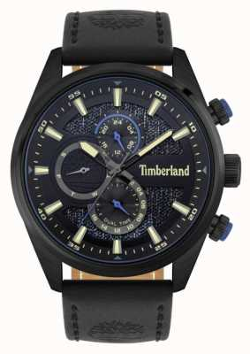 Timberland | chercheurs d'extérieur | bracelet en cuir noir | cadran noir / bleu | 15953JSB/02
