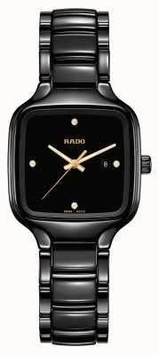 RADO Vrais diamants carrés | bracelet en céramique noire R27080722