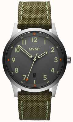 MVMT Hommes | champ | bracelet en toile verte | cadran gris 28000014-D