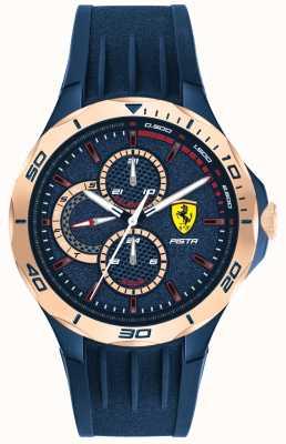 Scuderia Ferrari | pista pour hommes | bracelet en caoutchouc bleu | cadran bleu | 0830724