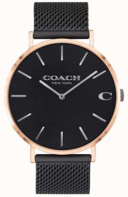 Coach | charles hommes | bracelet en maille noire | cadran noir | 14602470