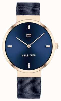 Tommy Hilfiger Liberté | bracelet en maille bleue | cadran bleu | 1782219